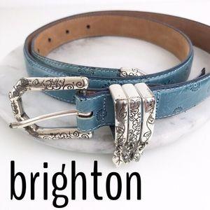 Brighton Leather Embossed Flower Charm Belt Silver